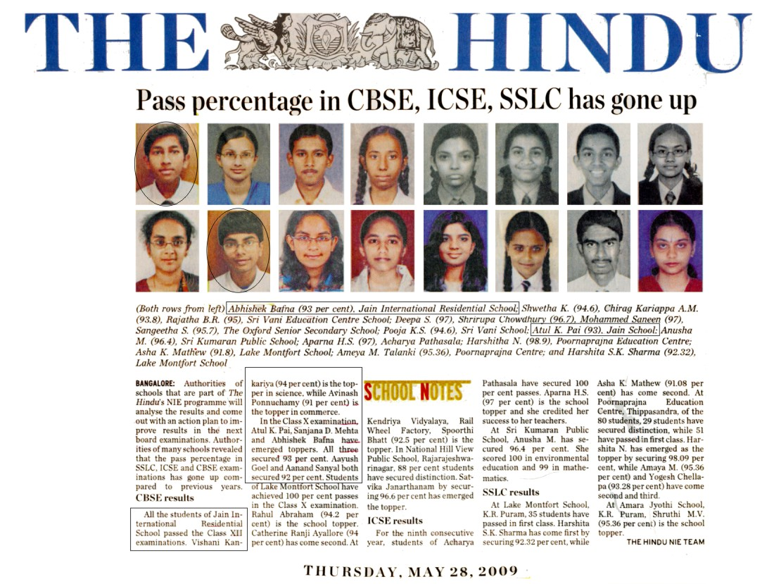 News Archive of Top and Best (Indian School) in Bangalore